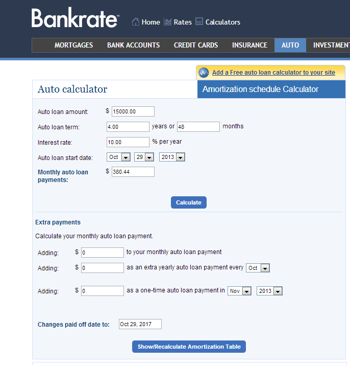amortization table bankrate | Brokeasshome.com