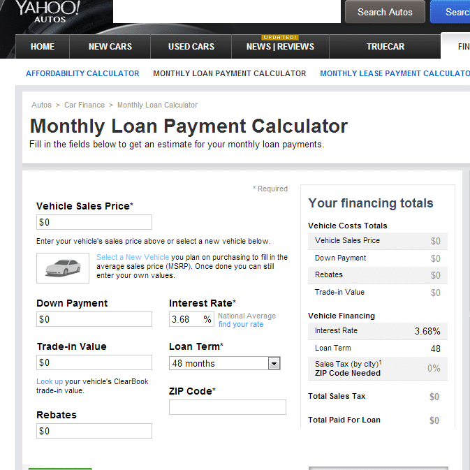 Monthly Car Loan Payment Calculator Yahoo